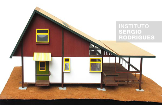 Photo of the mockup of the house made using the industrialized architecture in wood SR2 System.